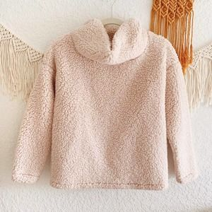 A New Day Pink Sherpa Cowl Neck Sweater